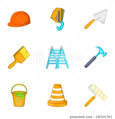 Tools icons set, cartoon style 28504761