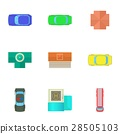 Top view of cars icons set, cartoon style 28505103