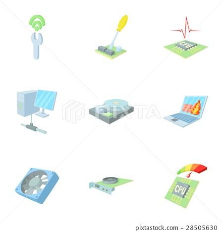 Computer setup icons set, cartoon style 28505630