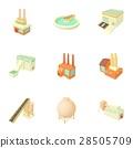 Factory icons set, cartoon style 28505709