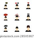 Emotions icons set, flat style 28505967