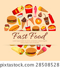 Fast food snacks and desserts vector poster 28508528