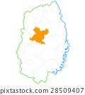 모리오카시와 이와테 현지도 28509407