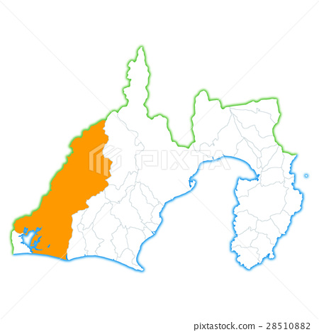 shizuoka prefecture map map hamamatsu city Stock Illustration