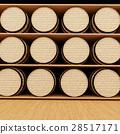 wine oak barrels in store in 3D rendering 28517171