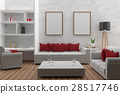 living room with mock up interior modern in 3D 28517746