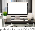 3D Modern office with blank computer screen.Mockup 28519229