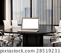 3D Modern meeting room blank laptop screen. Mockup 28519231