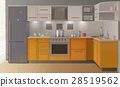 Orange Modern Kitchen Interior 28519562