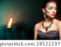Fashion photo of young magnificent woman on dark 28522297