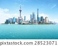 Shanghai skyline in sunny day, China 28523071