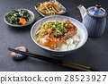 Salmon Teriyaki with Rice and Vegetable 28523927