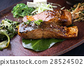 Salmon Teriyaki with Vegetable on Tray 28524502
