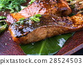 Salmon Teriyaki on Banana Leaf 28524503