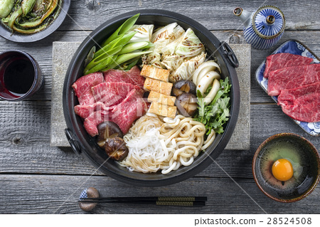 Japanese Sukiyaki in traditional Cast Iron Pot 28524508