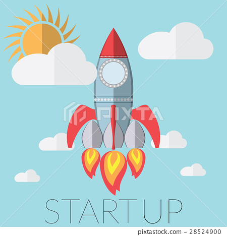 Flat vector illustration rocket startup concept 28524900