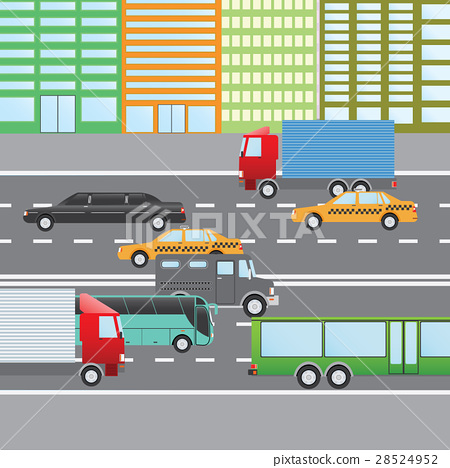 Flat vector illustration of city traffic 28524952