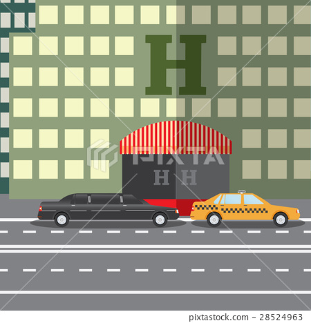 Flat vector illustration City Hotel and taxi  28524963