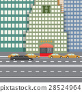 Flat vector illustration City Hotel and taxi 28524964