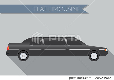 Flat vector illustration  limousine, side view  28524982