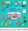 Back to School Flat vector illustration icons 28524996