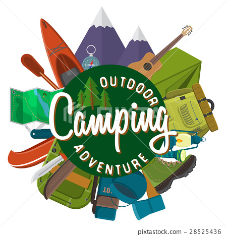 Flat vector illustration of camping equipment set 28525436