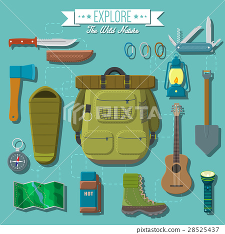 Flat vector illustration of camping equipment set 28525437