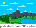Mountains with forest, lake landscape flat vector 28525442