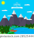 Mountains with forest, lake landscape flat vector 28525444
