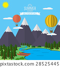 Mountains with forest, lake landscape flat vector 28525445
