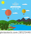 Mountains with forest, lake landscape flat vector 28525446