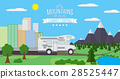 City, Mountains landscape flat vector illustration 28525447