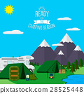 Mountains with forest, lake landscape flat vector 28525448