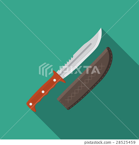 Flat vector illustration of hunting knife icon 28525459