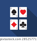 Flat design vector ace cards icon with long shadow 28525771