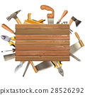 Vector Wooden Board with Hand Tools 28526292
