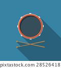Flat vector drum and drum sticks icon 28526418