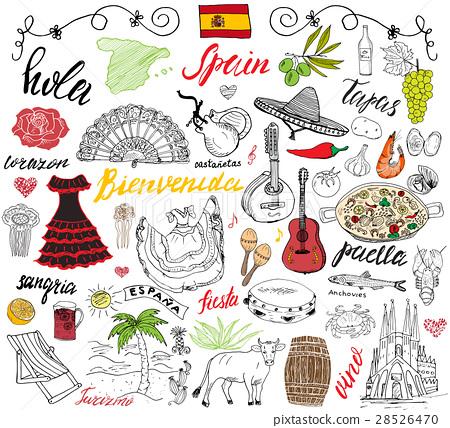 Spain doodles elements. Hand drawn set vector 28526470