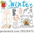 Winter season set doodles. Hand drawn set vector 28526475