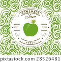 Jam label design template, apple Doodle vector 28526481