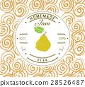 Jam label design template. pear fruit vector 28526487