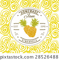 Jam label design template. pineapple fruit vector 28526488