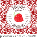 Jam label design template. strawberry fruit vecto 28526491