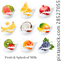 Big collection icons of fruit in a milk splash.  28527055