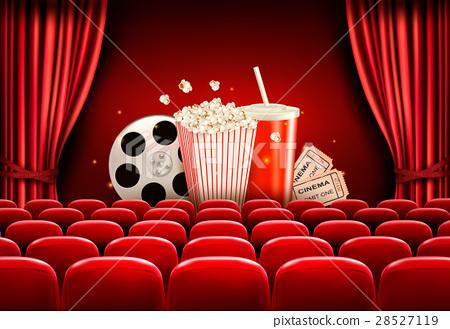Cinema background with a film reel, popcorn,  28527119