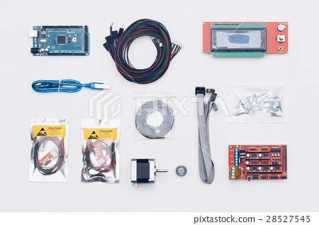Flat lay of electronic and mechanical parts 28527545