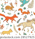 seamless pattern with cute animals and plants 28527925