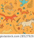 seamless pattern with cute animals and plants 28527926