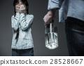Little scared girl hiding her eyes 28528667