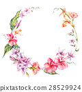 Exotic round frame, flowers, twigs and leaves. 28529924